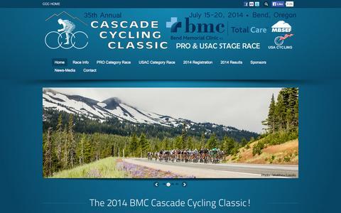 Screenshot of Home Page cascade-classic.org - 2014 BMC Cascade Cycling Classic, Bend Oregon - captured Sept. 22, 2014