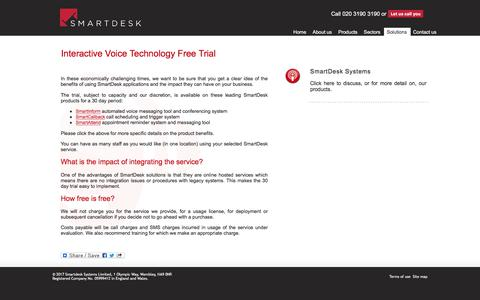 Screenshot of Trial Page smartdesksystems.com - SmartDesk Systems – intelligent web-hosted communication solutions - captured Nov. 14, 2017