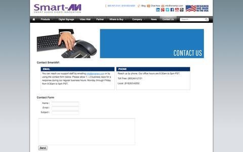 Screenshot of Contact Page smartavi.com - Contact Us - captured Oct. 30, 2014