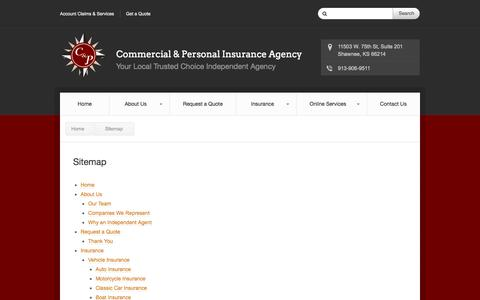 Screenshot of Site Map Page cnpins.com - Sitemap – Shawnee, KS | Commercial & Personal Insurance Agency - captured Oct. 2, 2014