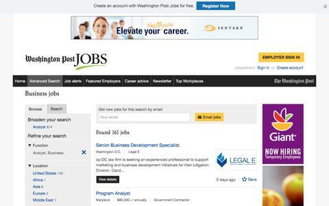 Screenshot of Jobs Page washingtonpost.com - Business jobs - captured Oct. 30, 2016