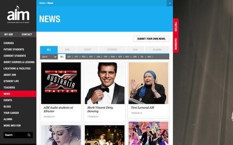 Screenshot of Press Page aim.edu.au - Music News Australia | AIM Music School - captured Sept. 25, 2014