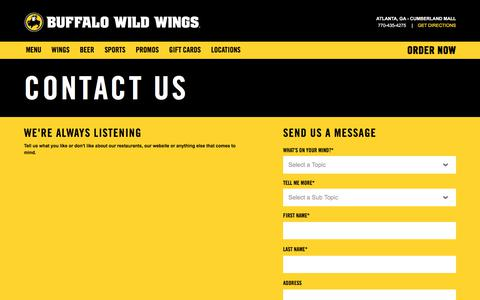 Screenshot of Contact Page buffalowildwings.com - Contact Buffalo Wild Wings | Contact Info & Feedback Form - captured Aug. 9, 2017