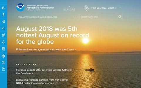 Screenshot of Home Page noaa.gov - National Oceanic and Atmospheric Administration   U.S. Department of Commerce - captured Sept. 21, 2018