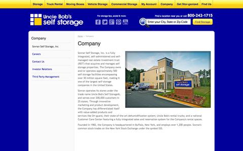Screenshot of About Page unclebobs.com - About Sovran Self Storage, Inc., professional management of Uncle Bob's Self Storage - captured Sept. 17, 2014