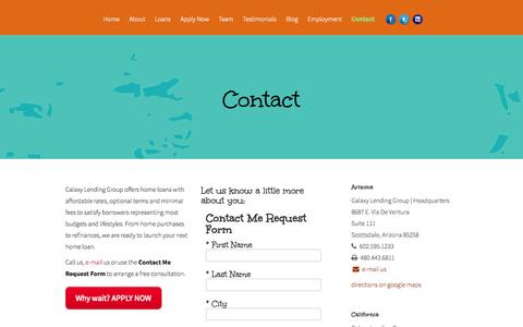 Screenshot of Contact Page galaxylg.com - Contact | Galaxy Lending | Galaxy Lending - captured Oct. 22, 2014