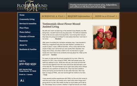 Screenshot of Testimonials Page flowermoundalf.com - Testimonials About Flower Mound Assisted Living - captured March 30, 2016