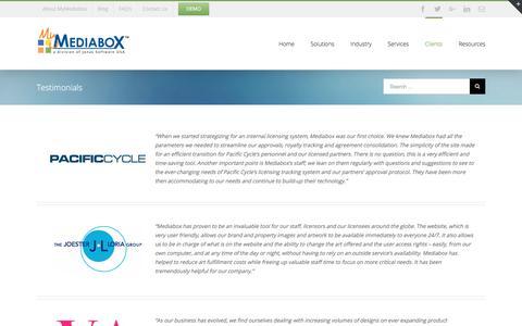 Screenshot of Testimonials Page mymediabox.com - Testimonials - MyMediabox - captured June 21, 2017