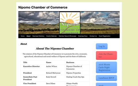Screenshot of About Page nipomochamber.org - About | Nipomo Chamber of Commerce - captured Feb. 15, 2016