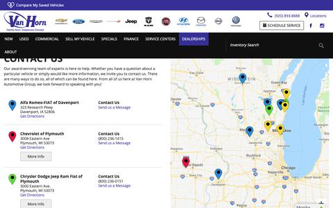 Screenshot of Contact Page Locations Page vhcars.com - Contact Van Horn Automotive Group in WI and IA - captured Oct. 18, 2018