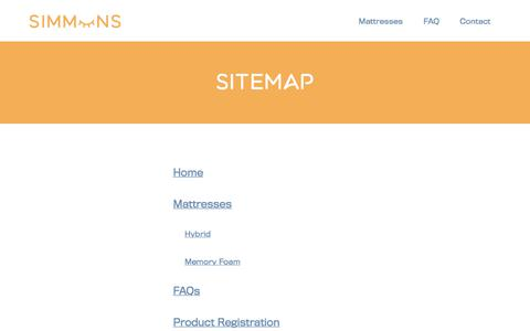 Screenshot of Site Map Page simmons.com - View Our Sitemap | Navigate Our Website | Simmons - captured Feb. 1, 2020