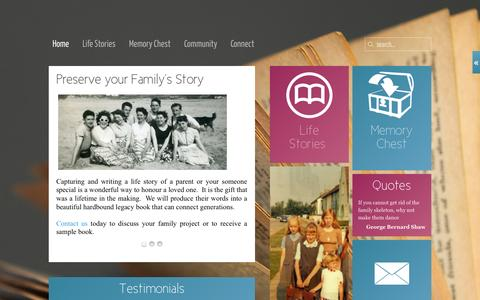 Screenshot of Home Page telltales.ie - Capture your Family's Story - captured Jan. 29, 2015
