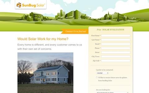 Screenshot of Landing Page sunbugsolar.com - Contact Us to Find Out - captured May 2, 2016