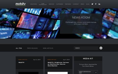 Screenshot of Press Page mobitv.com - Mobitv - captured Sept. 16, 2014