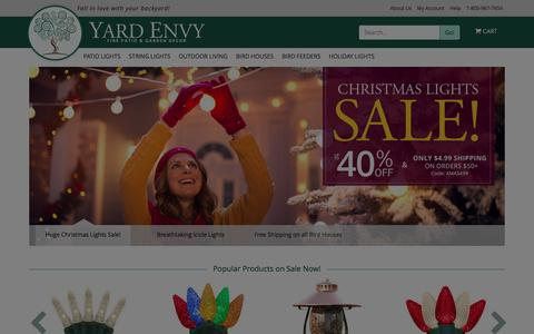 Screenshot of Home Page yardenvy.com - Patio Lights, Bird Houses, Bird Feeders, Sundials, and Hammocks - Yard Envy - captured Dec. 21, 2015
