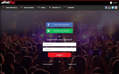 Screenshot of Login Page festpop.com - The Easiest Way To Discover and Book New Music Festivals | Festpop - captured Oct. 10, 2018