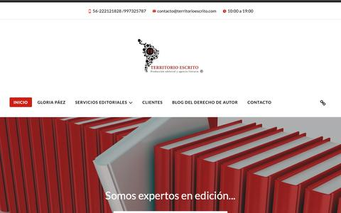 Screenshot of Home Page territorioescrito.com - Territorio Escrito – Servicios editoriales Chile - captured Oct. 20, 2018