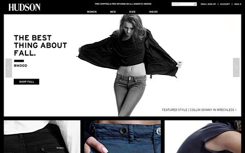 Screenshot of Home Page hudsonjeans.com - HUDSON JEANS Official Site | Designer Denim Jeans for Women & Men - captured Oct. 7, 2015
