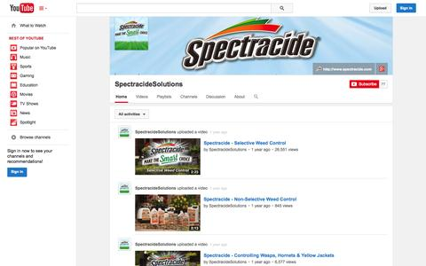 Screenshot of YouTube Page youtube.com - SpectracideSolutions  - YouTube - captured Nov. 4, 2014