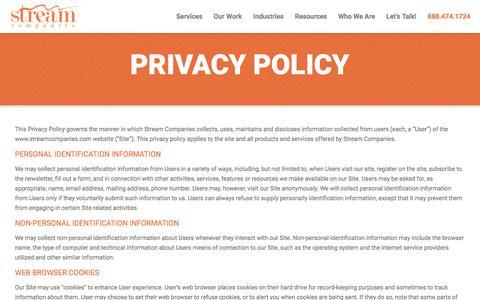 Screenshot of Privacy Page streamcompanies.com - Privacy Policy - Stream Companies - captured Feb. 3, 2017