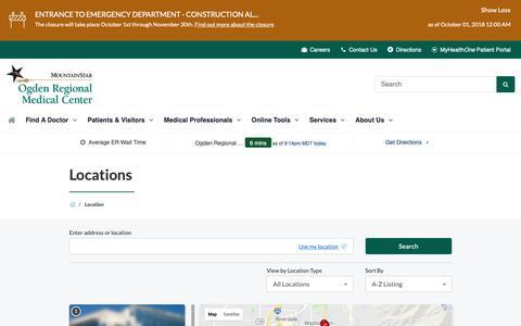 Screenshot of Locations Page Maps & Directions Page ogdenregional.com - Locations   Ogden Regional Medical Center - captured Oct. 18, 2018