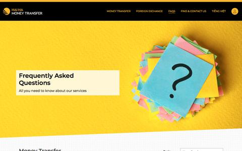 Screenshot of FAQ Page hhmt.com.au - Frequently Asked Questions (FAQs) - Hai Ha Money Transfer - captured Nov. 8, 2019