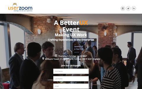 Screenshot of Landing Page userzoom.com - Making UX Work London Registration - captured Sept. 18, 2017