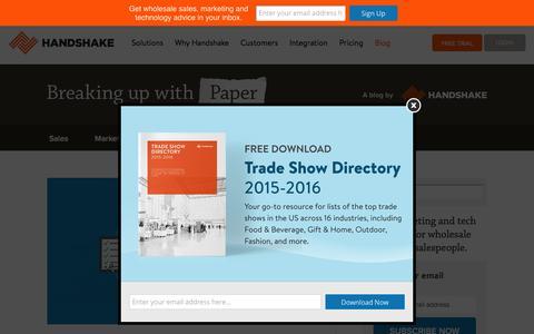 Screenshot of Blog handshake.com - Wholesale & B2B Best Practices   Handshake Blog - captured Feb. 7, 2016