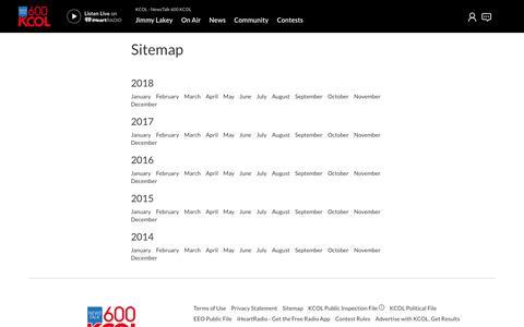 Screenshot of Site Map Page iheart.com - KCOL - NewsTalk 600 KCOL - captured Oct. 27, 2018