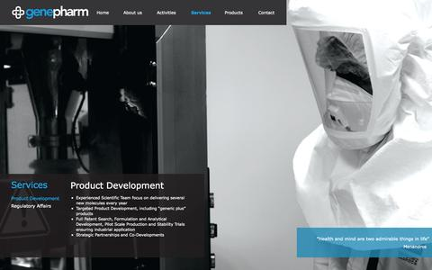 Screenshot of Services Page genepharm.com - genepharm.gr - Product Development - captured Oct. 2, 2014