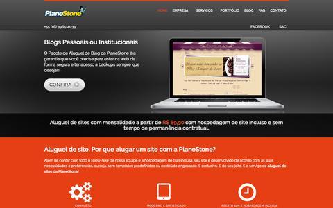 Screenshot of Home Page planestone.com.br - PlaneStone | Desenvolvimento e Aluguel de Sites - captured Sept. 10, 2015
