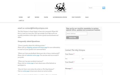 Screenshot of Contact Page FAQ Page theinkyoctopus.com - Contact & FAQs - The Inky Octopus - captured Oct. 26, 2014