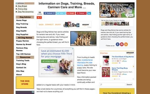 Screenshot of Home Page dogs-and-dog-advice.com - Dogs and Dog Advice: Information on Breeds, Training, Care and More - captured June 16, 2016