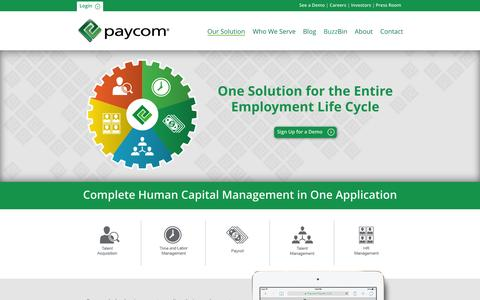 Paycom | Our Solution: Talent Acquisition, Time and Labor Management, Payroll, Talent Management, and HR Management