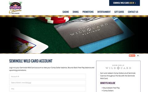 Screenshot of Login Page seminoleclassiccasino.com - Seminole Wild Card Login | Seminole Classic Casino - captured Dec. 18, 2016