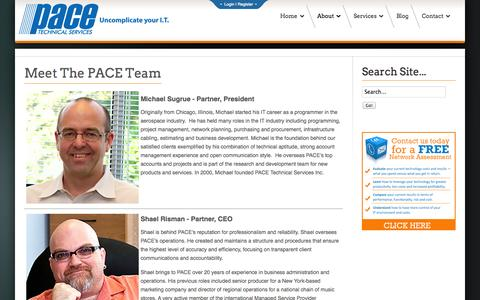 Screenshot of Team Page pacetechnical.com - The Team - Pace Technical Services | Pace Technical Services - captured Nov. 1, 2014
