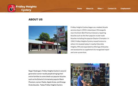 Screenshot of About Page fridleyheightscyclery.com - About Us - Fridley Heights Cyclery - captured June 6, 2017