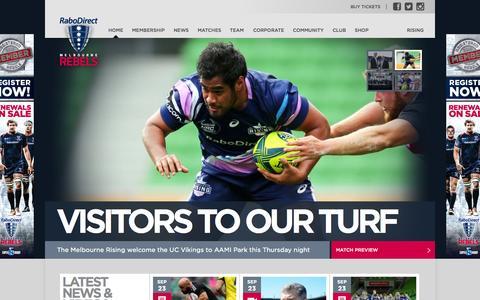 Screenshot of Home Page Menu Page melbournerebels.com.au - Melbourne Rebels - captured Sept. 19, 2014