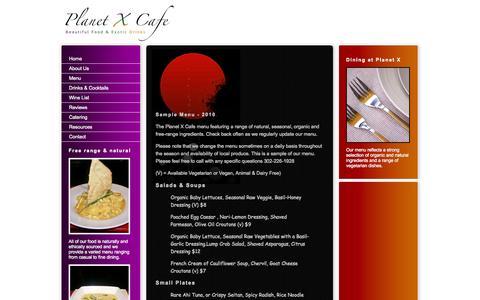 Screenshot of Menu Page planetxcafe.com - Planet X Cafe | Menu - captured Sept. 30, 2014