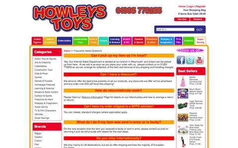 Screenshot of FAQ Page howleys.co.uk - Frequently Asked Questions - captured Oct. 3, 2014