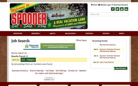 Screenshot of Jobs Page spoonerchamber.org - Job Search - Spooner Area Chamber of Commerce,WI - captured Jan. 1, 2017