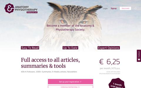 Screenshot of Signup Page Pricing Page anatomy-physiotherapy.com - Signup | Anatomy & Physiotherapy - captured Sept. 17, 2019