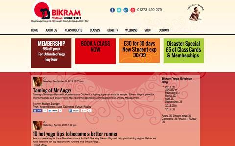 Screenshot of Blog bikramyogabrighton.com - Bikram Yoga Brighton Blog - captured Sept. 30, 2014
