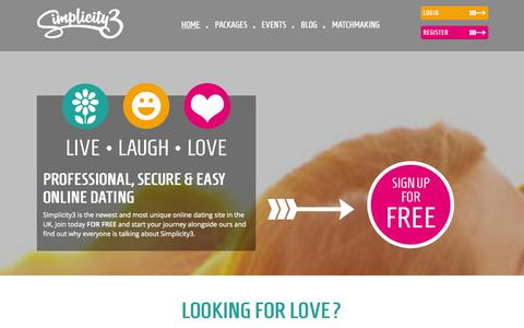 Screenshot of Home Page simplicity3.co.uk - Simplicity3   Personal Online Dating London   Free Dating Site - captured Sept. 30, 2014