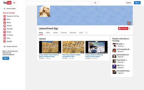 Screenshot of YouTube Page youtube.com - LeisureTravel Egy  - YouTube - captured Oct. 22, 2014