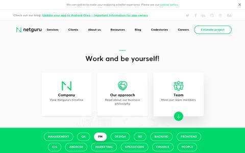 Screenshot of Team Page netguru.co - Ruby on Rails and mobile Team – Join us now!   Netguru - captured Sept. 20, 2018