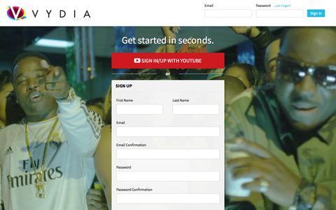 Screenshot of Login Page vydia.com - Sign Up - Vydia - captured Sept. 30, 2016