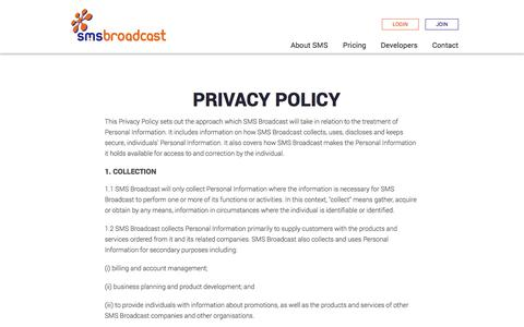 SMS Broadcast | 4.5 Cent SMS Messages | Privacy Policy