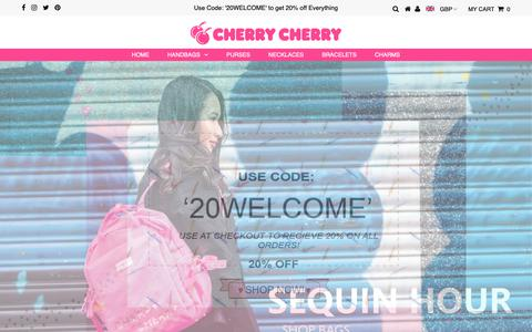 Screenshot of Home Page cherrycherry.com - Ladies Handbags, Gift Shop Accessories UK | Cherry Cherry - captured Dec. 8, 2018
