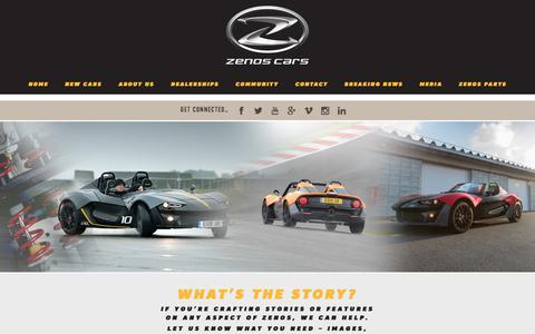 Screenshot of Press Page zenoscars.com - Media – Zenos Cars – Innovative, lightweight & affordable British sports cars - captured Sept. 20, 2018